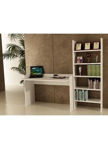 Sanal Mobilya Sirius Kitapliklıçalişma Masası120-6A Beyaz